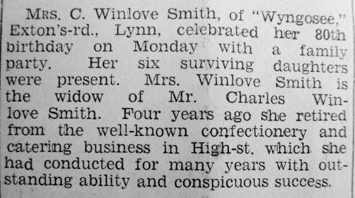 1938 Nov 1st Mrs C Winlove Smith 80yrs old