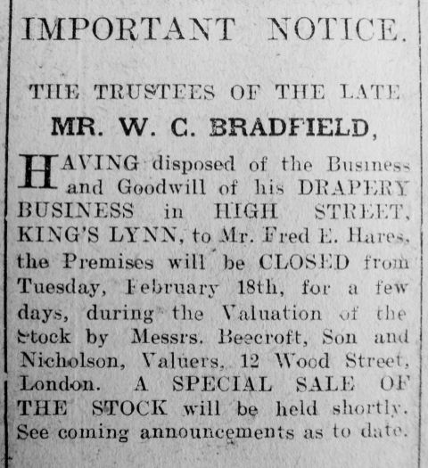 1919 Feb 14th WC Bradfield dec Fred E Hares