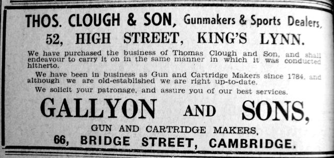 1940 Feb 16th Gallyon & Son take over