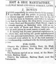 1864 November 5th J Bowen takes Laws shop @ No 54 crop