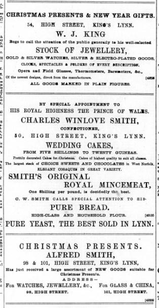 1891 December 19th W J King @ No 54