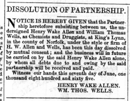 1865 June 10th Allen & Wells dissolution @ 55