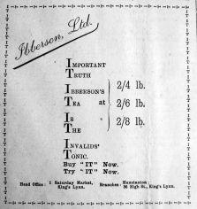 1917 Mar 2nd Ibbersons Tea