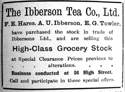 1923 Apr 27th Hares Ibberson Towler buy up