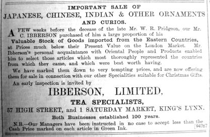 1900 Nov 30th Ibberson sells Pridgeons stock