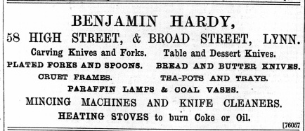 1896 Dec 4th Benjamin Hardy @ No 58