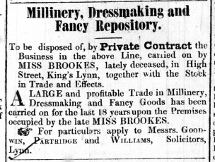 1845 Nov 29th Miss Brookes business for sale No 59
