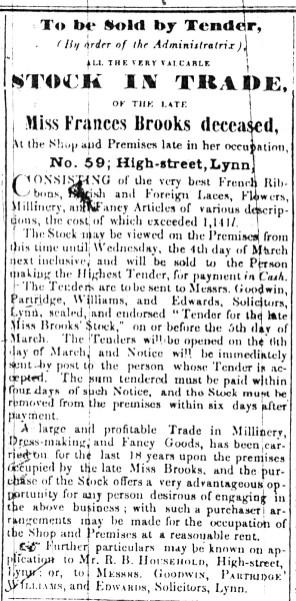 1846 Feb 28th Miss Frances Brookes