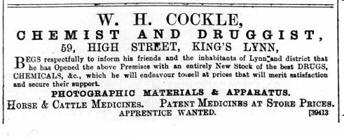 1890 April 12th W H Cockle @ No 59
