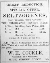 1901 Aug 23rd W H Cockle Seltzogenes