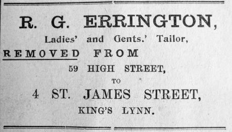 1919 Sept 26th R G Errington moves out
