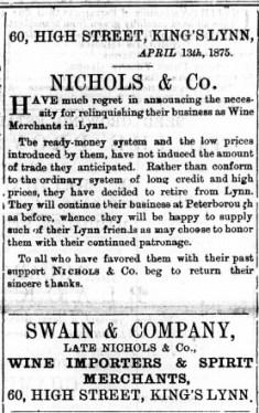 1875 April 24th Swain & Co take over Nichols & Co @ No 60