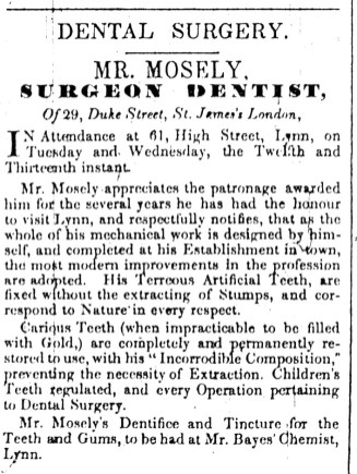 1842 April 12th Mr Mosely dentist @ No 61