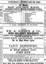 1862 Feb 22nd John Wm K Patrick @ No 61