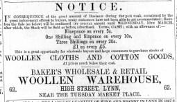 1870 March 12th J C Baker @ No 62
