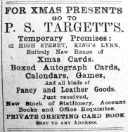 1914 Dec 4th P S Targett temporary premises