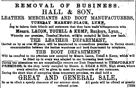1896 17th June Hall & Son moving boot dept to 65