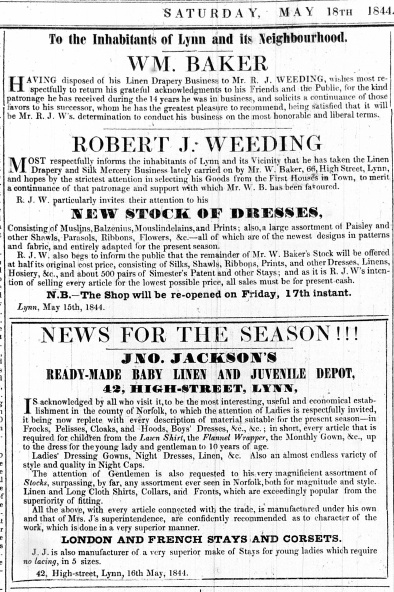 1844 May 18th Robert J Weeding succeeds Wm Baker @ 66