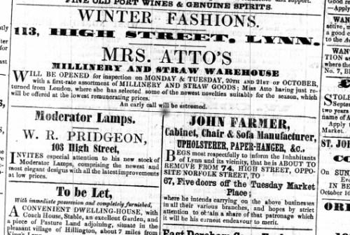 1856 Oct 18th John Farmer moves to No 67