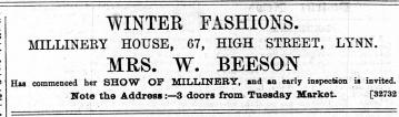 1888 November 32rd Mrs Beeson @ No 67