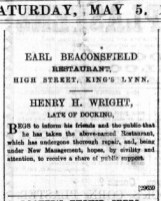 1888 May 5th Henry H Wright @ Earl of Beaconsfield @ 68