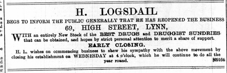 1888 March 17th H Logsdail @ No 69