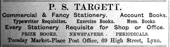 1911 Feb 24th P S Targett opens @ PO