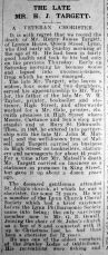 1926 Feb 19th Obit H J Targett