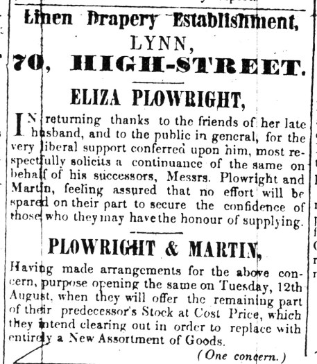 1845 Aug 9th Eliza Plowright