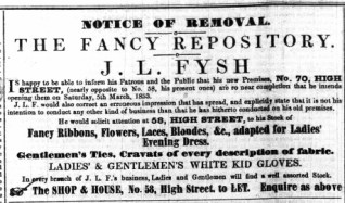 1853 Feb 26th J L Fysh @ 70
