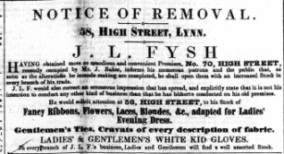 1853 Jan 8th J L Fysh moves from 58 to 70