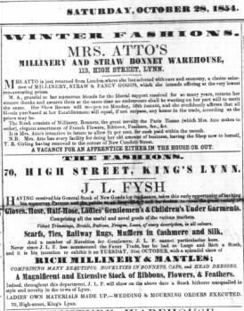 1854 Oct 28th J L Fysh @ No 70