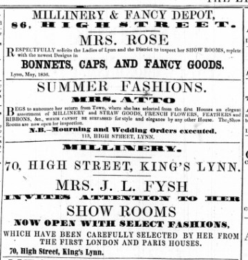 1856 May 10th Mrs J L Fysh @ No 70