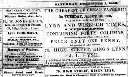 1860 Dec 1st JL Fysh still trading @ No 70