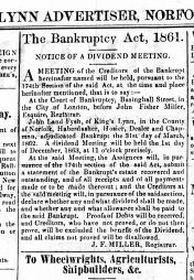 1863 Nov 14th John Land Fysh bankrupt No 70
