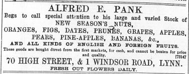 1896 Dec 18th Alfred E Pank @ No 70