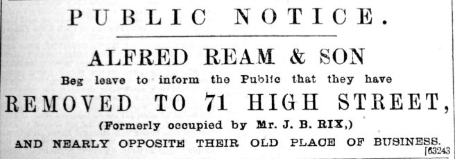 1894 Sept 1st Alfred Ream & Son move in