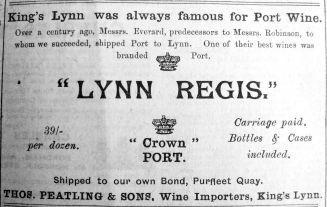 1914 Feb 6th Thos Peatling Lynn Regis Port