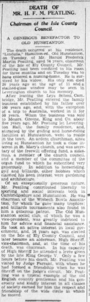 1938 Apr 22nd obit H F M Peatling