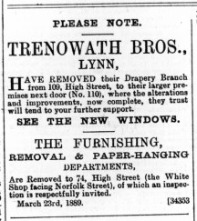 1889 March 30th Trenowath Bros move from 109 to 110