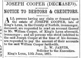 1871 June 1th Joseph Cooper @ No 75