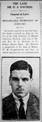 1930 Aug 1st obit D A Davison son of the proprietor