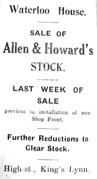 1928 Sep 14th Allen Howard & Howard last week of sale