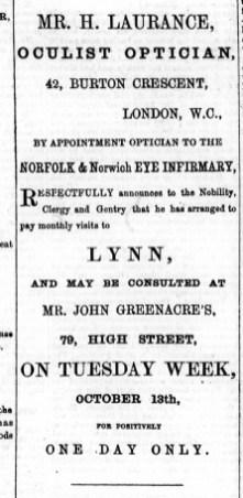1874 Oct 3rd H Laurance @ John Greenacre No 79