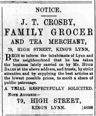 1891 October 24th J T Crosby @ No 79