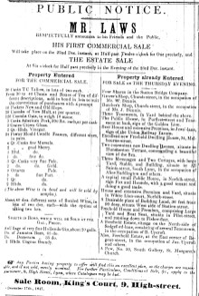 1847 Dec 18th Laws auction sale