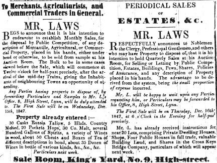 1847 Dec 4th Laws auction sales