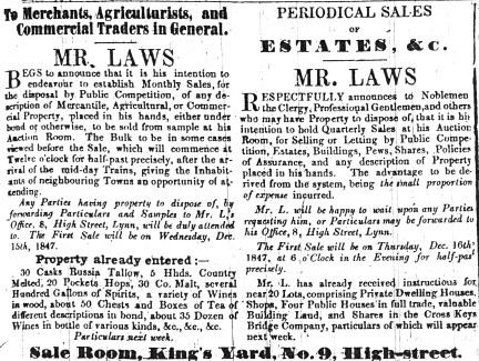 1847 Dec 4th Laws auction sales