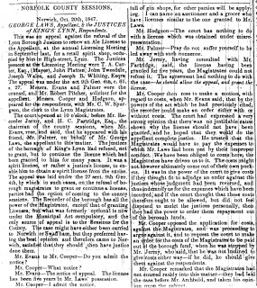 1847 Oct 23rd George Laws appeal re licence