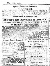 1863 Nov 14th George Laws deceased No 8